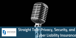 "Cover image for webinar ""Straight Talk: Privacy, Security and Cyber Liability Insurance"" - microphone against black background [Image by creator  from ]"
