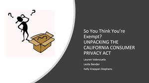 So You Think You're Exempt CCPA Webinar Thumbnail